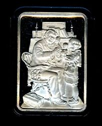 Norman Rockwell Doctor And Doll Ham-135 G 999 Silver Art Bar 1 Troy Oz 24 Ktegp