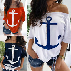 Women Off Shoulder Short Sleeve Loose T-Shirt Ladies Casual Slim Blouse Tops Tee