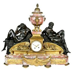 19th Century Louis XVI  Classical French gilded ormolu Rouge Bronze Mantel Clock