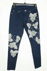 A7 Womenand039s Denim Navy Blue Skinny With Floral Lace And Crystal