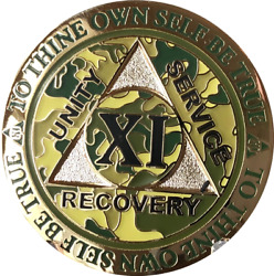 11 Year Aa Medallion Reflex Camo Gold Plated Sobriety Chip Camouflage Coin Xi