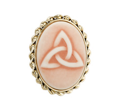 Solvar Women Gold Plated Trinity Knot Cameo Style Brooch Irish Design 38x30mm