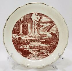 Vintage Yellowstone Collector Plate Ceramic Red Transferware