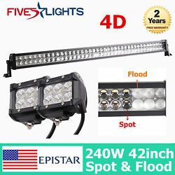 42inch 240w Led Light Bar Driving Combo Ute Tractor 4d Opticals+2x 18w Flood