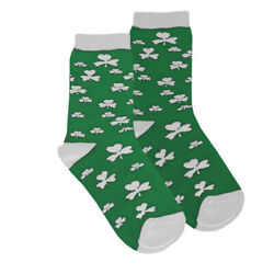 Kids Socks Shamrock Design Green and White Color Irish Store
