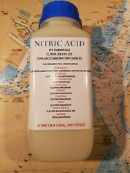 Dt Nitric 70 Acid, 1 Liter 34oz, High Purity Hno3 For Gold And Silver Refining