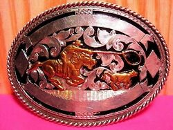 Beautiful Solid Sterling Silver Cowboy Roping Calf Trophy Belt Buckle Wow