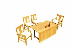 A-grade Teak 5pc Dining 60 Square Rectangle Butterfly Table Osborne Chair Set