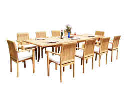 A-grade Teak 11pc Dining 118 Rectangle Table 10 Lua Stacking Arm Chairs Set