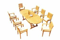 A-grade Teak 9pc Dining 94 Mas Oval Table Lua Stacking Arm Chairs Set Outdoor