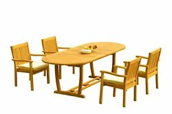 A-grade Teak 5pc Dining 94 Mas Oval Table Leveb Stacking Arm Chairs Set Outdoor