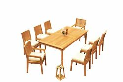 A-grade Teak 9pc Dining 83 Rectangle Table Maldives Chair Set Outdoor Patio