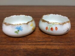 2 Delinieres/d And C Limoge France Floral Handpainted China Individual Open Salt D
