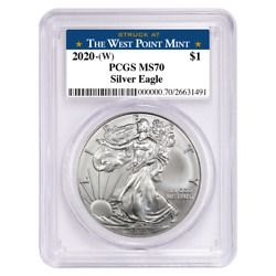 2020 W $1 American Silver Eagle PCGS MS70 West Point Label