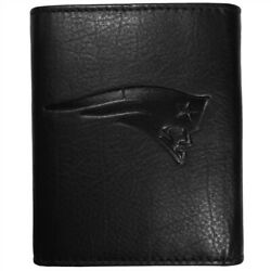 New England Patriots Tri-fold Leather Wallet Embossed Black Nfl Football Sports