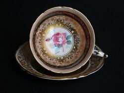 Vintage Gold And Royal Blue With Pink Rose Center Paragon Teacup And Saucer Set