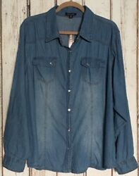 LargeXL1X2X3X Blue Denim Chambray Cotton Shirt Top Blouse Pearl Snap Western