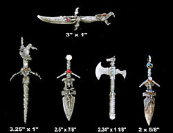 Medieval Daggers / Heavy Charms / Pewter With Loop For Hanging / 5 Styles