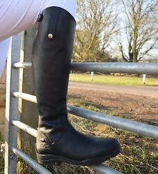 Mark Todd Fleece Lined Long Tall Leather Winter Zip Boots Black/brown Uk 4-10.5