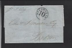 1861 Stampless Incoming Steamship 10 To Boston Massachusetts From Cubacontent