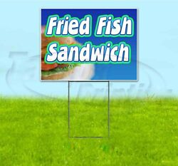 Fried Fish Sandwich 18x24 Yard Sign With Stake Corrugated Bandit Business Food