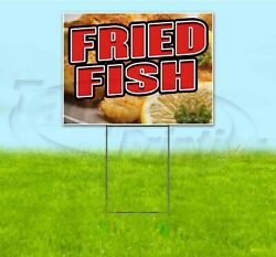 Fried Fish 18x24 Yard Sign With Stake Corrugated Bandit Usa Business Food