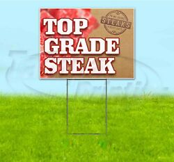 Top Grade Steak 18x24 Yard Sign With Stake Corrugated Bandit Business Food