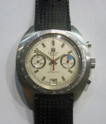 70s Tissot Navigator Two Registers Men Steel Chronograph With Cal.7734