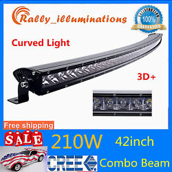 50inch 240w Led Single Row Curved Light Bar Trailer Offroad Suv 4x4wd Lamp Atv