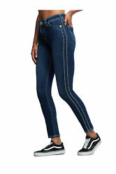 True Religion Womenand039s Halle Tuxedo Super T High Rise Skinny Fit Stretch Jeans