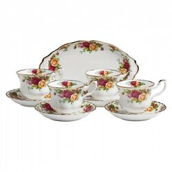 Royal Albert Old Country Roses Completer Set 4 Cups/saucers/regal Tray