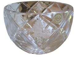 Lenox Crystal Gold Club Crystal Etched Centerpiece Bowl 095014 7.25 New In Box