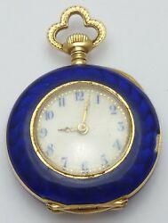 Vintage Antique 18k Yellow Gold And Enamel Crest With Raw Diamonds Pocket Watch