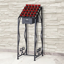 25 Votive Wrought Iron Candle Stand With Locking Offering Box