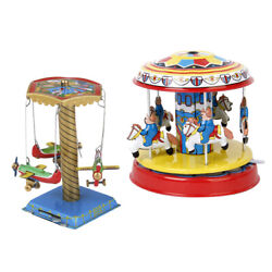 2pack Windup Spinning Airplane Tower Carousel Clockwork Tin Toys Collectible