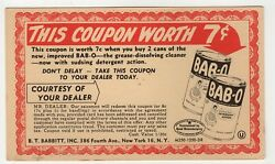 Vintage 1940's Bab-o Cleanser Grocery Store Coupon Postcard Epherma