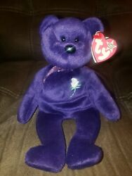 Ty Princess Diana Beanie Baby Bear White Star Pink Swing Tag 1997 One Of A Kind