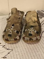 Antique C 1880-1890 Native American Sioux Indian Beaded Child's Moccasins Lakota