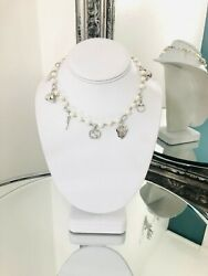 18k White Gold Diamond And Fresh Water Pearl Necklace