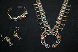 Native American Sterling Silver Necklace Squash Blossom Style Naja Shadow Box