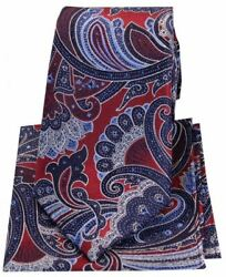 Posh And Dandy Mens Large Edwardian Paisley Silk Tie And Hanky Set - Red/blue