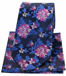 Posh And Dandy Mens Floral Silk Tie And Hanky Set - Navy Blue/fuchsia Pink
