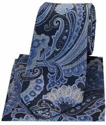 Posh And Dandy Mens Large Edwardian Paisley Silk Tie And Hanky Set - Navy Blue