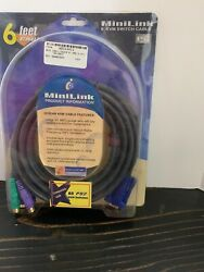 Minilink 6' Ft Kvm Switch Cable G-2lioo1p Vga / Ps2 Keyboard / Mouse