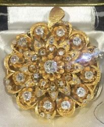 Antiqueandfound Very Old 22k Yellow Gold Diamond And 210 Carat Historical Brooch