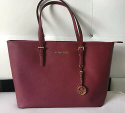 NEW With Tags Michael Kors Jet Set Travel Women#x27;s Leather Top Zip Tote Mulberry $100.00