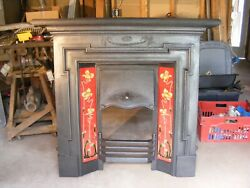Antique English Original Victorian Cast Iron Tiled Fireplace.  Free Shipping