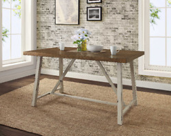Farmhouse Dining Table Rustic Wood Country Kitchen Distressed Metal Cream Brown