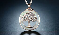 Peermont Tree Of Life Necklace Fire Opal Circle Rose Gold Plating Metaphysical