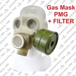 Gas Mask Pmg With Charcoal Filter 40mm, Vintage Soviet Russian Military Ussr